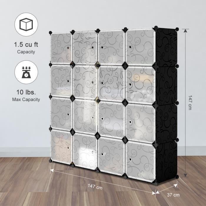Armoire étagères - 16 cubes - Plastique - Modulable - Noir