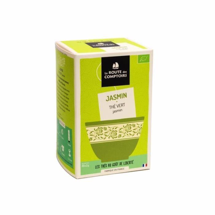 Thé Vert Jasmin Bio - La Route des Comptoirs - Boite de 20 sachets