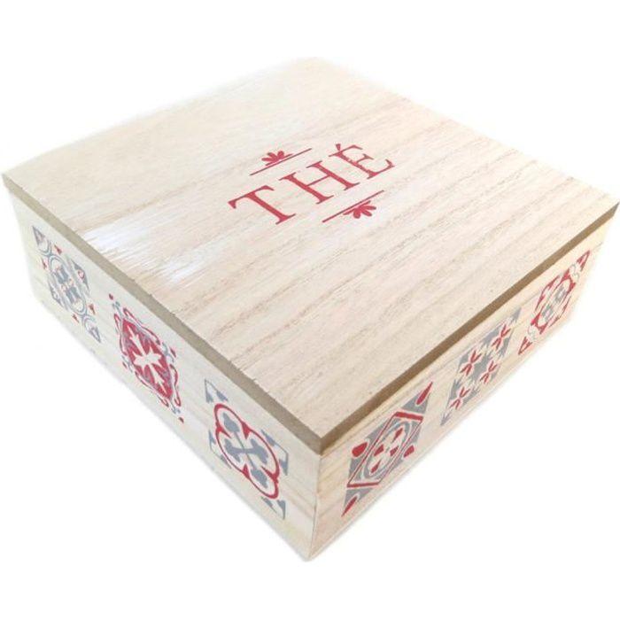 Boite à thé bois 'Thé' beige patiné rouge - 18x18x7 cm [P9518]