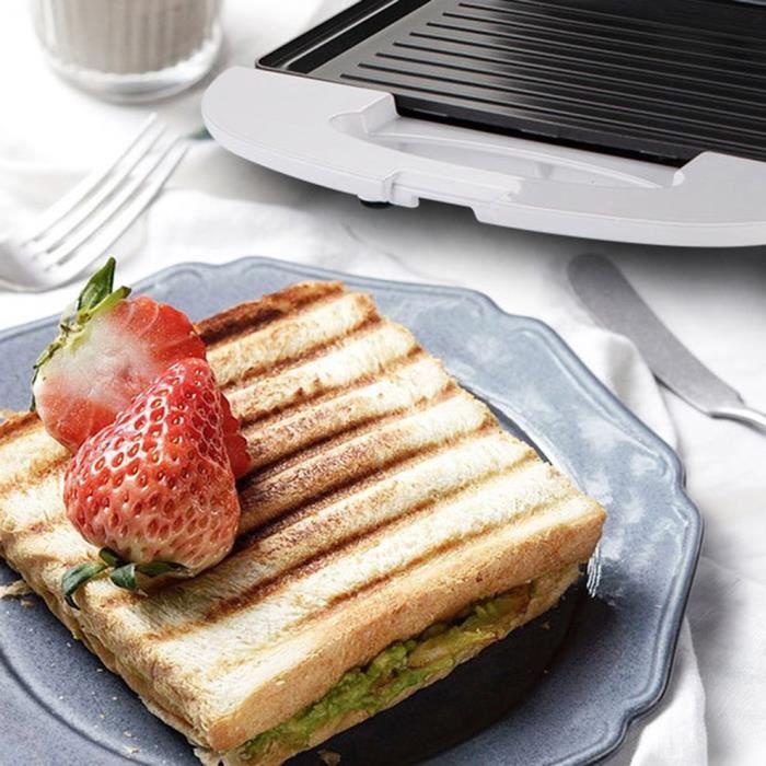 Grille-pain carré Machine à petit-déjeuner Panini Sandwich gaufres gâteaux biscuits Poêle électrique antiadhésive Cuisson rapide