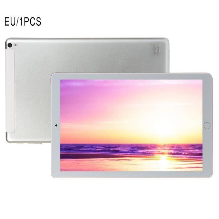 1+16Go Tablette PC 10,1 pouces grand écran double SIM 4G téléphone tablette PC micro WIFI, gris argenté