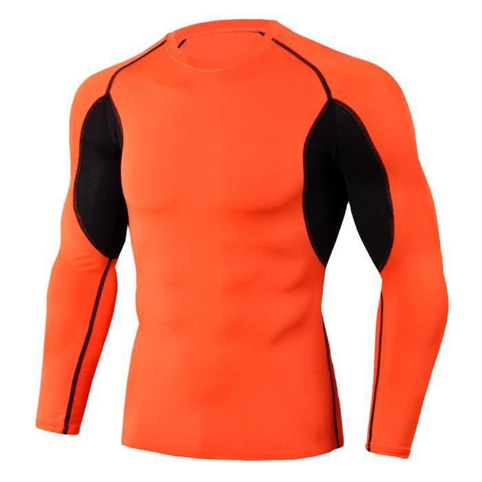 L'homme séance d'entraînement à manches longues Fitness Sports Yoga course pour homme Chemise Haut Chemisier Orange