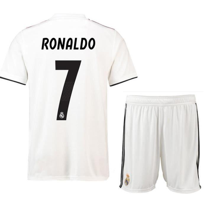 Nouveau Real Madrid NO.7 Cristiano Ronaldo Maillot et Shorts de football Homme-Blanc