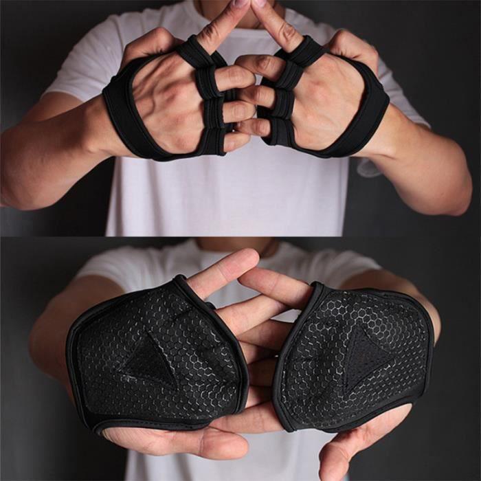 Gants de musculation ventilés Fitness Cross Training Gloves Antidérapant Palm Sleeve Idéal pour Ups (Black-L)
