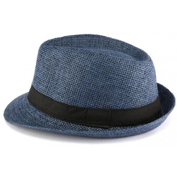 Chapeau Paille Enfant Bleu Mylko 6 a 11 ans - Bleu - Taille unique