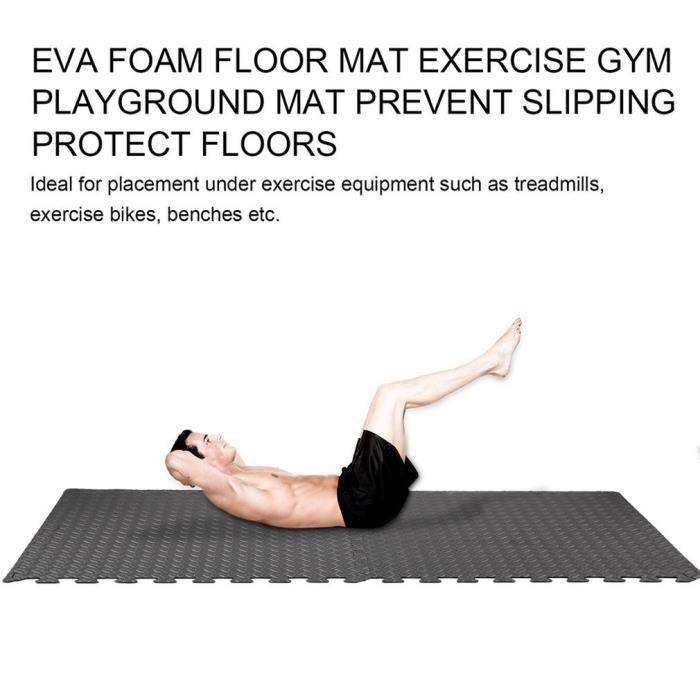 Tapis de protection de sol – 4 dalles en mousse sans BPA + bordures - Matelas puzzle pour matériel fitness, gym, musculation