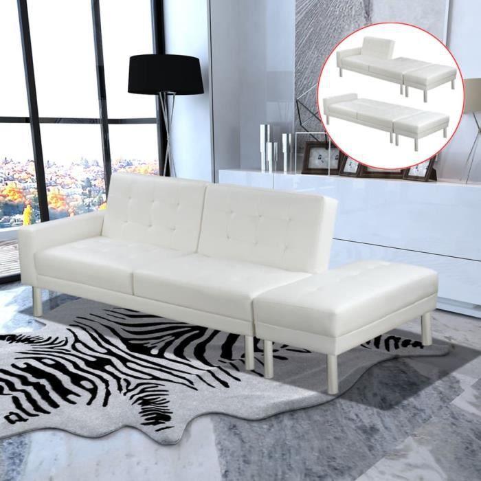5115Supersale® Canapé-lit,Canapé d'angle Convertible & Réversible - Design scandinave Cuir artificiel Blanc