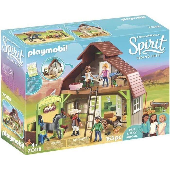 PLAYMOBIL 70118 - Spirit - Grange avec Lucky, Apo et Abigaëlle
