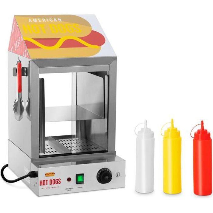 Machine à Hot Dog Professionnelle Appareil Cuisson Vapeur Acier Inoxydable 1000w