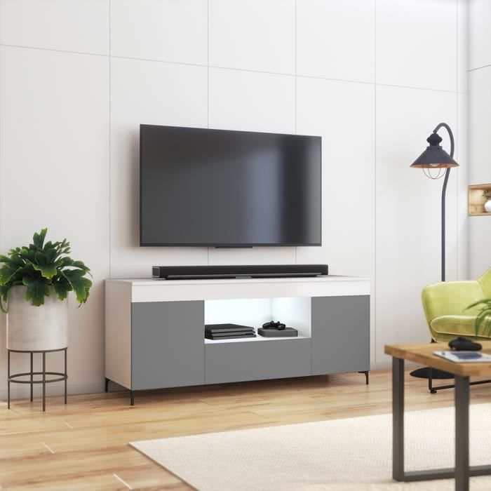 Meuble tv avec LED / Banc tv avec LED - GUSTO - 137 cm - blanc mat / gris mat - style contemporain