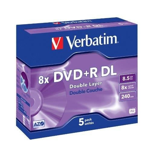 Verbatim DVD+R Double Layer 8X 8.5GB Branded Matt Silver,5 Pack, 43541 (Branded Matt Silver,5 Pack)