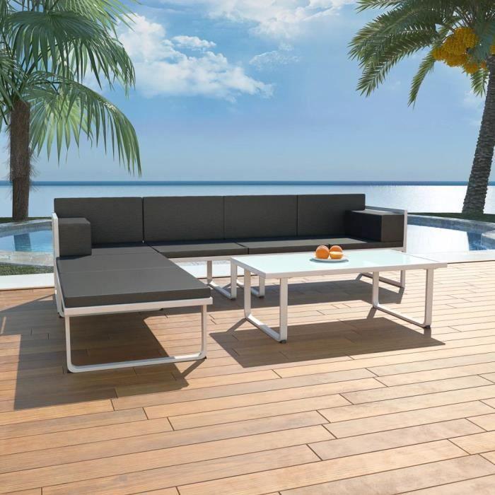vidaXL Ensemble de mobilier de jardin 4 pcs et coussins Aluminium Noir-MEY