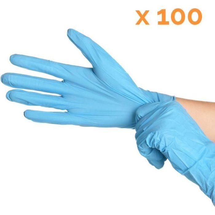 Boite de 100 gants en nitrile jetables - non poudrés - Taille M - Bleu