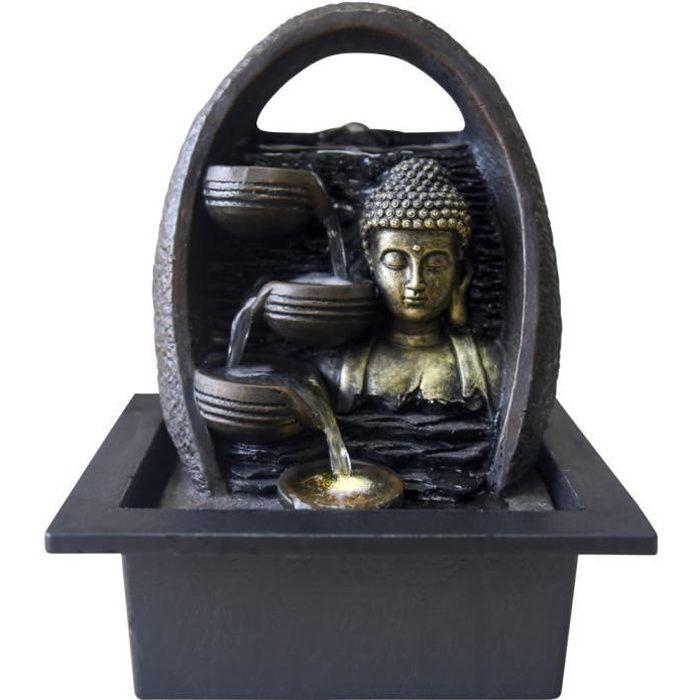 Zen Light - Fontaine déco LED bouddha Essan Noir