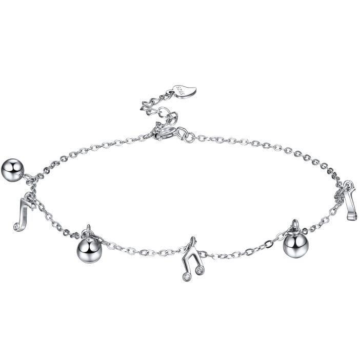 Bracelet de Cheville Cha/îne Argent 925 R/églable pour les femmes et les filles