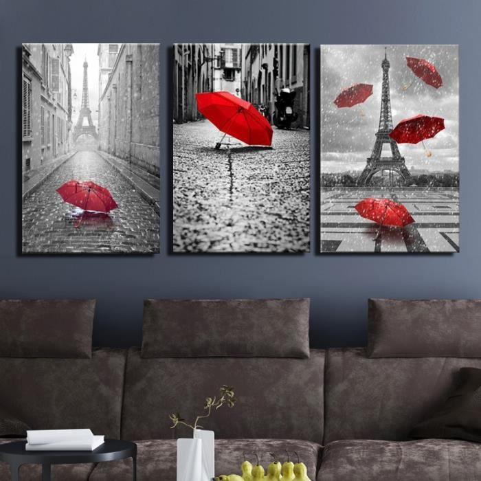 art noir et blanc tour eiffel avec rouge parapluie sur paris rue peinture romantique photo. Black Bedroom Furniture Sets. Home Design Ideas