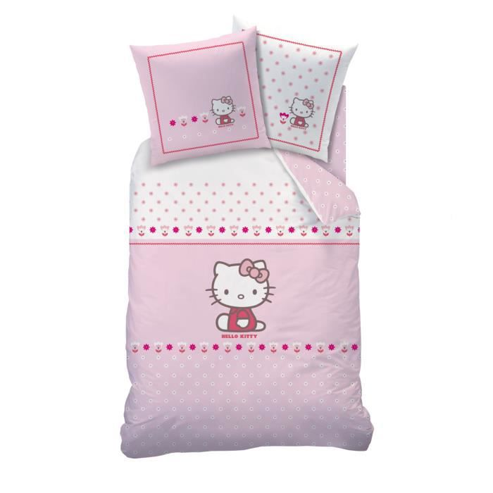 housse de couette 1 place 1 taie d 39 oreiller hello kitty. Black Bedroom Furniture Sets. Home Design Ideas