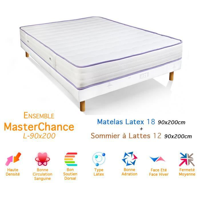 ensemble masterchance matelas latex sommier 18 12 90x200cm achat vente ensemble literie. Black Bedroom Furniture Sets. Home Design Ideas