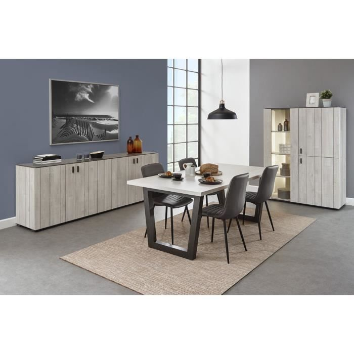 ensemble salle manger contemporaine avec vitrine clair e coloris ch ne andes ch ne clair. Black Bedroom Furniture Sets. Home Design Ideas