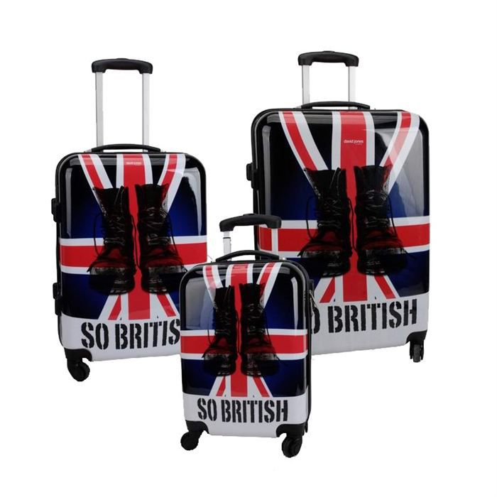 david jones 3 valises trolley 4 roues so british bleu rouge et blanc achat vente set de. Black Bedroom Furniture Sets. Home Design Ideas