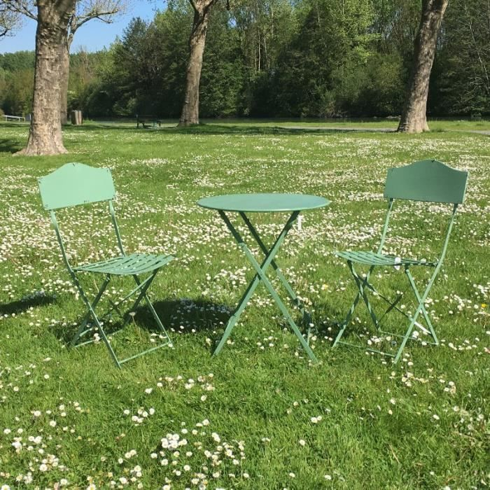 Table 2 Chaises de Jardin en Fer Pliable Salon de Jardin Bistrot Vert
