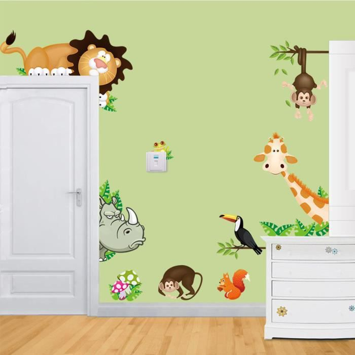 Jungle animaux sauvages art stickers muraux enfants chambre nurseries stickers d cor achat for Chambre jungle cdiscount