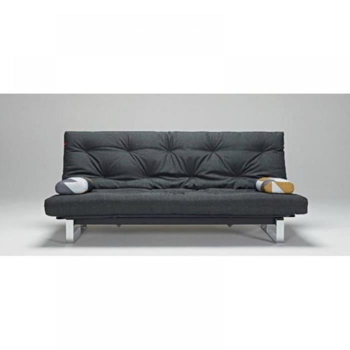 Canape lit design minimum graphite convertible cli achat for Canape lit design