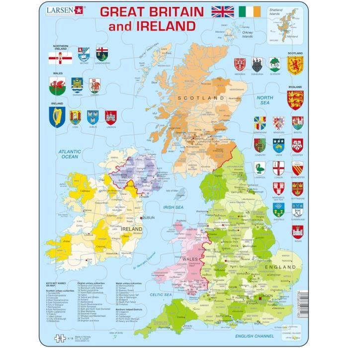 carte royaume uni en anglais Puzzle 48 pièces Puzzle Cadre   Carte du Royaume Uni (en Anglais
