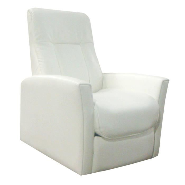 Fauteuil relax elegius blanc achat vente fauteuil cdiscount - Fauteuil relax discount ...