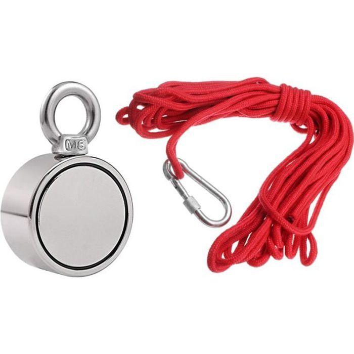 200//300 10M corde-argent unique anneau 48MM 500Kg NdFeB aimants acier double face d/étecteur de m/étal aimant n/éodyme p/êche