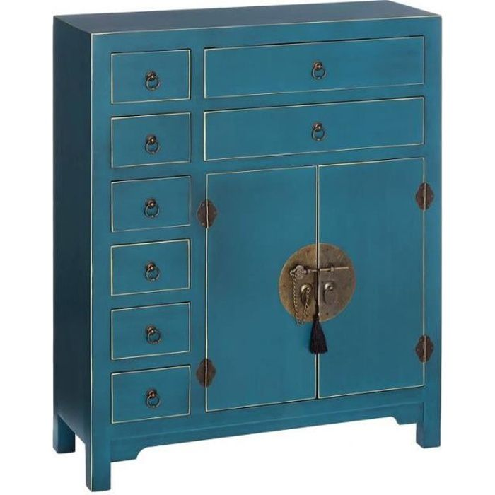meubles d 39 entr e 2 portes 8 tiroirs bleu meuble chinois pekin l 73 x l 26 x h 90 cm achat. Black Bedroom Furniture Sets. Home Design Ideas