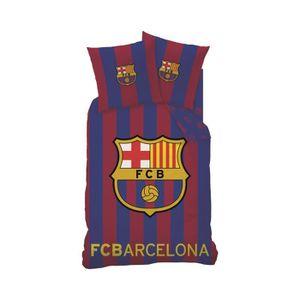 HOUSSE DE COUETTE ET TAIES Parure de lit FC Barcelone 140 x 200 cm Bleu-Rouge