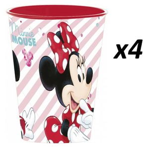 Verre à eau - Soda Disney Minnie Mouse - Lot 4 Gobelets en Plastique