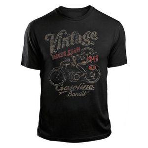 T-SHIRT T-shirt Biker Vintage Racer Couleur Noir T-shirts