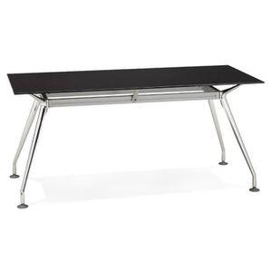 TABLE À MANGER SEULE Bureau rectangulaire en métal chromé et verre Noir