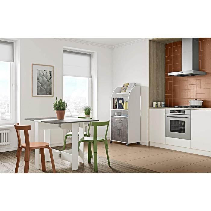 Table Pliante Moderne Petit Appartement Table Pliante Maison Salle à Manger Salon Blanc/Béton