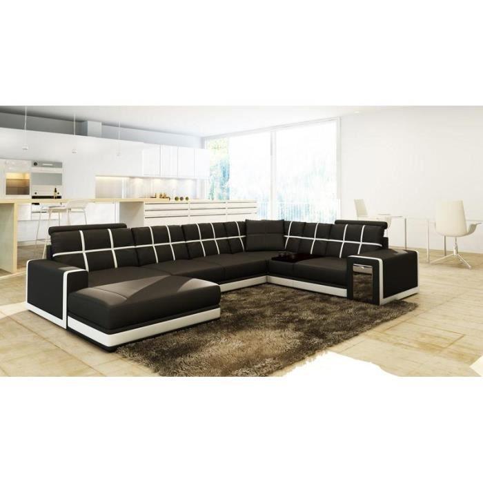 Canapé d'angle panoramique cuir noir blanc design