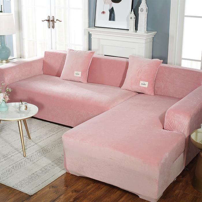 Housse de canapé en forme de L en peluche épaisse de couleur unie, sac universel simple tout-en-un élastique antidérapant - rose