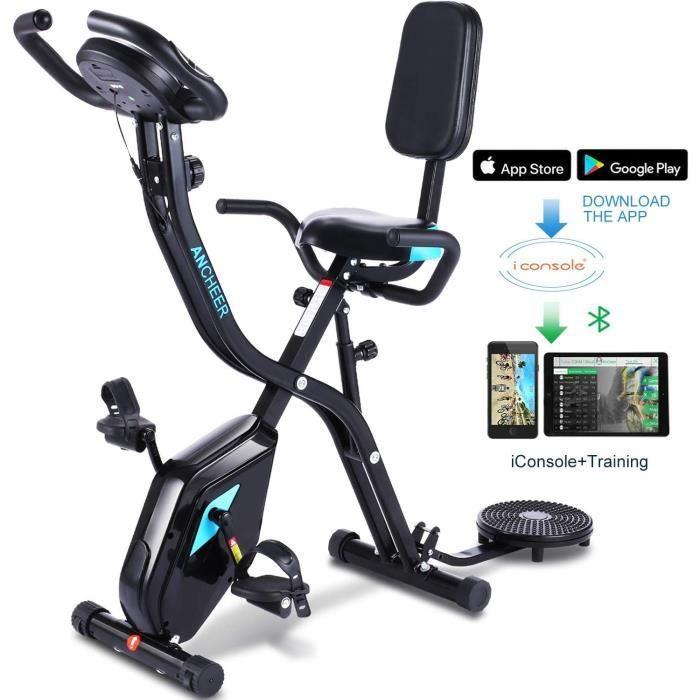 Profun Vélo de Fitness Pliable Vélo d'Appartement avec Disque de Sport pour Les Reins, Vélo d'exercice à l'Intérieur 10 Niveaux de R
