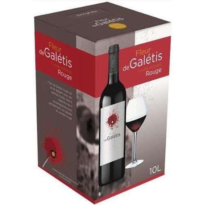 BIB Vin Rouge IGP Pays d'Hérault - Cubi 10 Litres Vin Rouge Fleur de Galétis