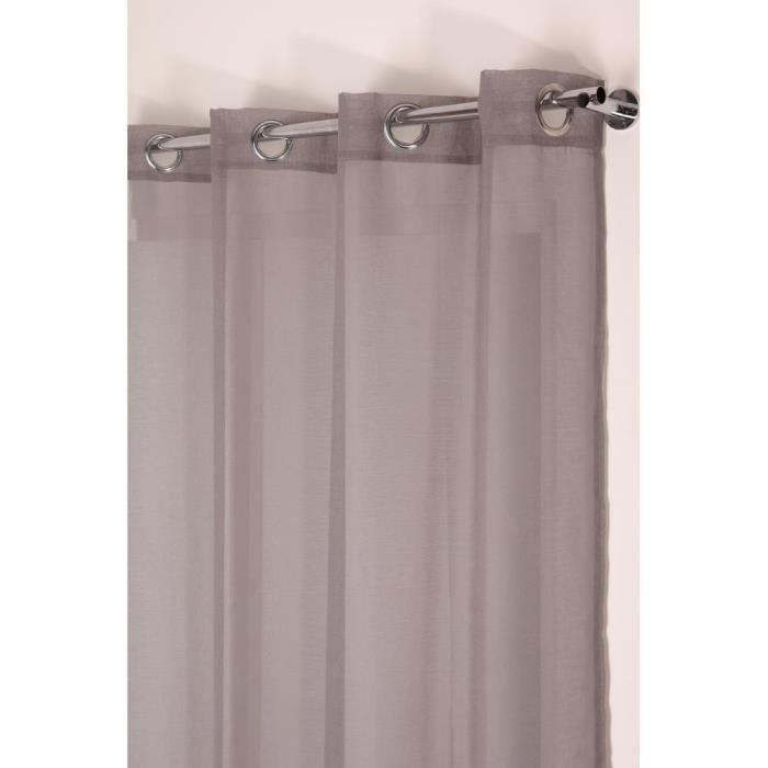 Voilage Effet Coton 140 x 240 cm à Oeillets Uni Gris
