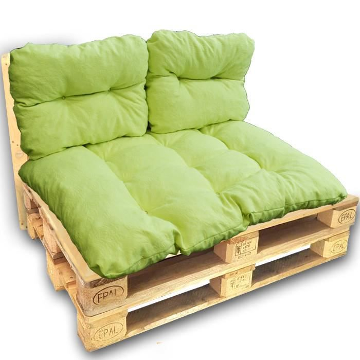 Kit coussins palette vert motifs floraux pour canapé euro palettes 120x80 cm fabriqué en France