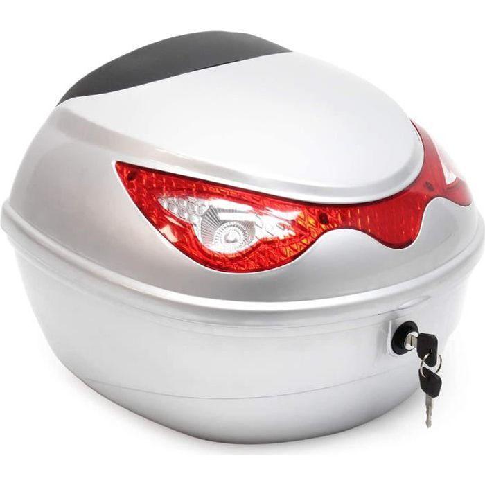WilTec Top Case 22L Couleur Argent Coffre pour Moto Scooter Quad Valise Espace Rangement Moto Porte-Bagage