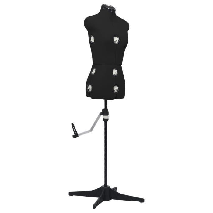 Moderne 18659 - Buste Mannequin de Couture, de Vitrine, de robe ajustable - Buste Décoratif de femme Noir S Taille 33-40