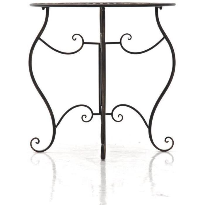 Tables de jardin CLP Table de Jardin Ronde Indra avec Diamètre Ø 70 cm - Table en Fer Forgé pour Usage Extérieur au Jard 99479