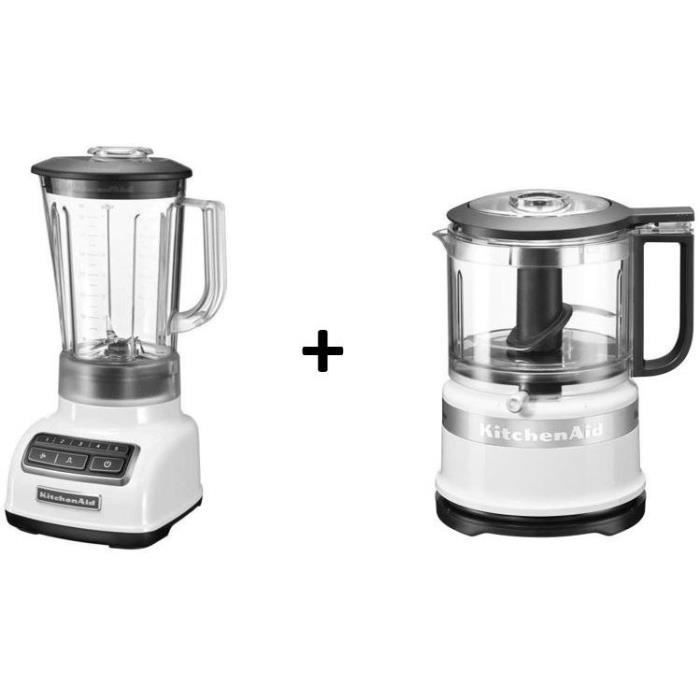 KITCHENAID Blender 5KSB1565EWH - Blanc + Mini hachoir 5KFC3516EWH - Blanc