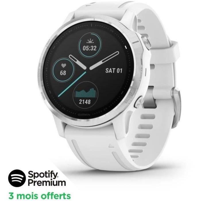 [SPOTIFY PREMIUM - 3 MOIS OFFERTS]Garmin fenix 6S - Montre GPS multisports haut de gamme - Silver avec bracelet blanc