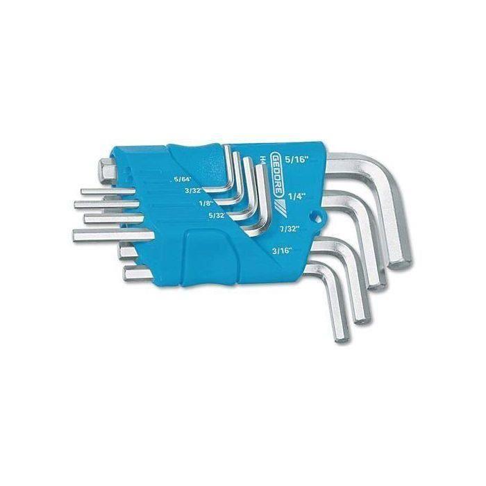 Jeu de clés mâles coudées GEDORE au dimensions en pouces:5/64 - 3/32 - 1/8 - 5/32 - 3/16 - 7/32 - 1/4 - 5/16-