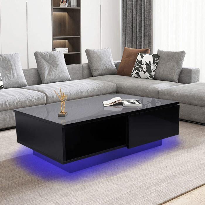 Fydun Table basse LED Table de rangement de salon de table basse de meubles de style moderne noir avec tiroir et lumière LED(220V