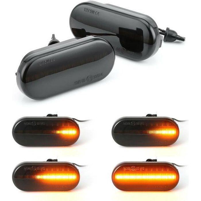 LUMIEREHOLIC Feux de jour Clignotant Latéral à LED clignotant Noir Fumée parfait pour Bora Golf 3 4 Passat 3BG Polo SB6